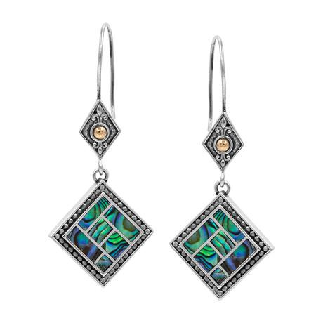Women's Abalone Earrings // Silver + 18K Gold