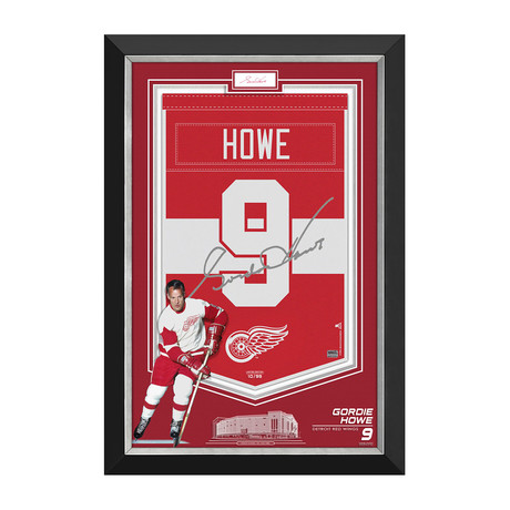 Gordie Howe // Framed Limited Edition Red Wings Arena Banner // Cut Signature