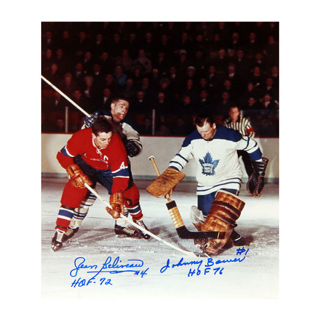 Jean Beliveau + Johnny Bower// Toronto Maple Leafs + Montreal Canadiens Signed Photograph