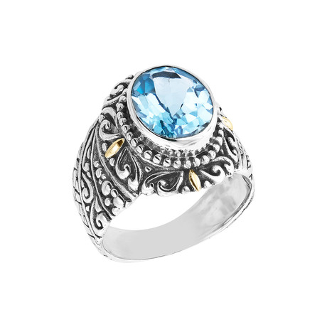 Women's Blue Topaz Ring // Silver + 18K Gold (5)