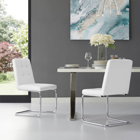 Ausin PU Leather Dining Chair // Set of 2 (White/Chrome)