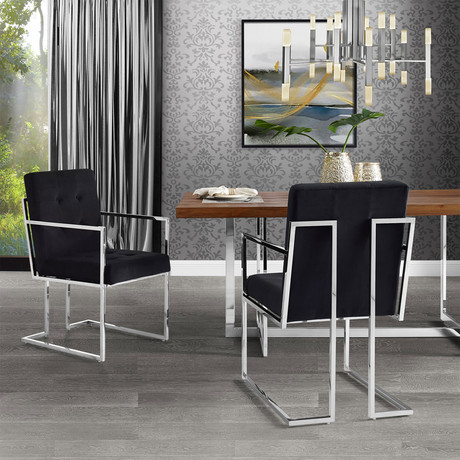 Cecille Velvet Dining Chair // Set of 2 (Black)