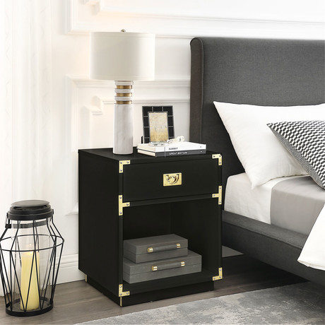 Lebod Side Table / Accent Table / Nightstand (Black)