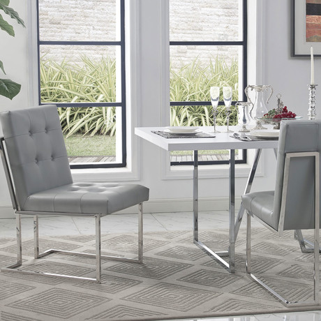 Cecille PU Leather Dining Chair // Set of 2 (Light Gray/Chrome)