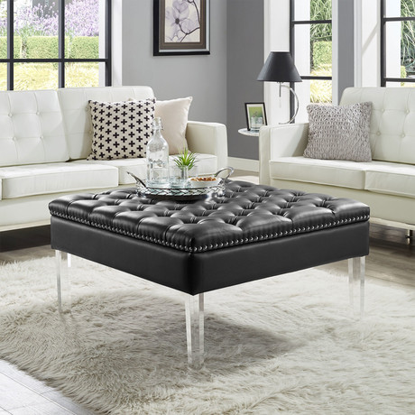 Filomena PU Leather Ottoman / Coffee Table (Black)