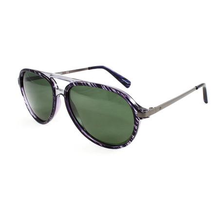 Men's Oak IslandPM Polarized Sunglasses // Black Horn + Green
