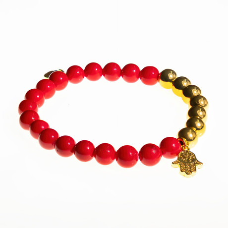 Jean Claude Jewelry // Hamsa + Howlite Beaded Bracelet // Red + Gold