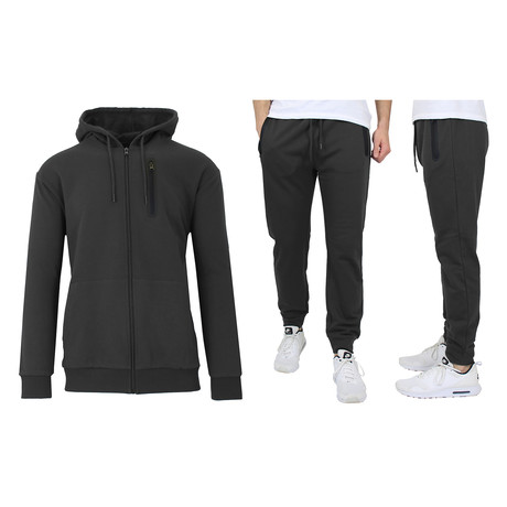 French Terry Zip Up Hoodie + Jogger Set // Black (S)