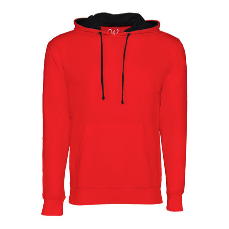 French Terry Two-Toned Pullover Hoodie // Red + Black (S)