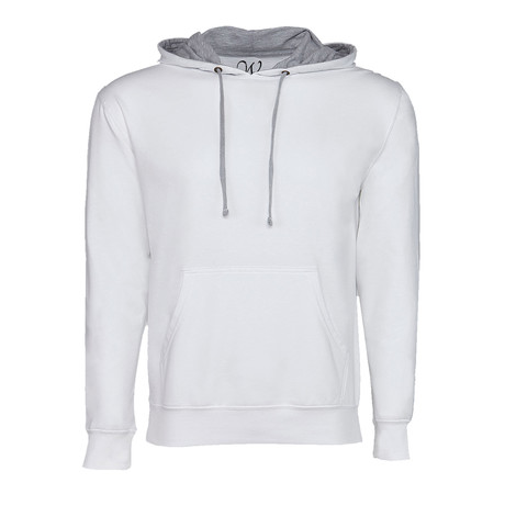 French Terry Two-Toned Pullover Hoodie // White + Heather Gray (S)