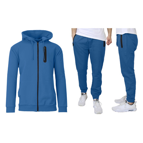 French Terry Zip Up Hoodie + Jogger Set // Royal (S)