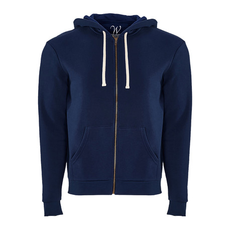 French Terry Zip Up Hoodie // Navy (S)
