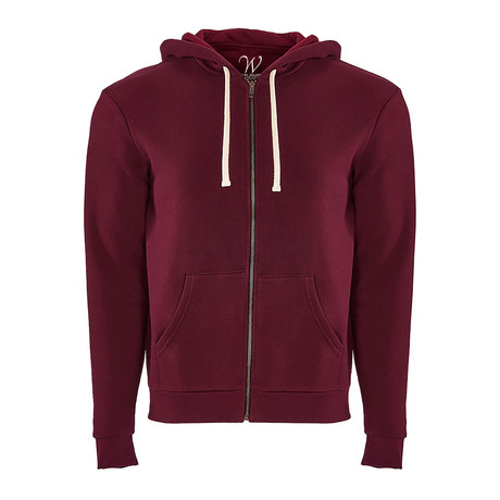 French Terry Zip Up Hoodie // Maroon (S)