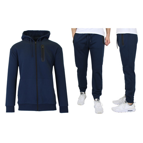 French Terry Zip Up Hoodie + Jogger Set // Navy (S)