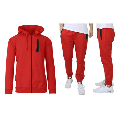 French Terry Zip Up Hoodie + Jogger Set // Red (S)