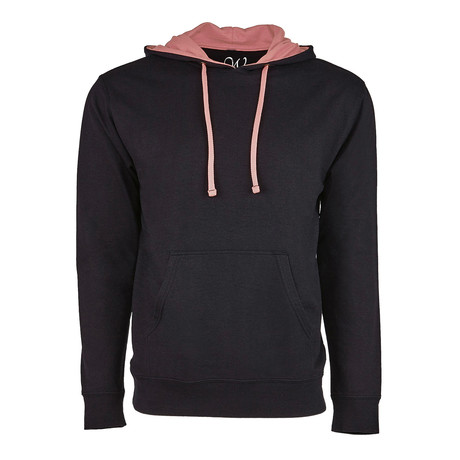French Terry Two-Toned Pullover Hoodie // Black + Pink (S)