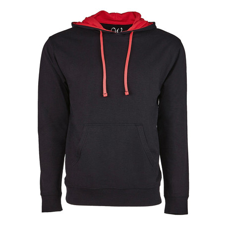 French Terry Two-Toned Pullover Hoodie // Black + Red (S)