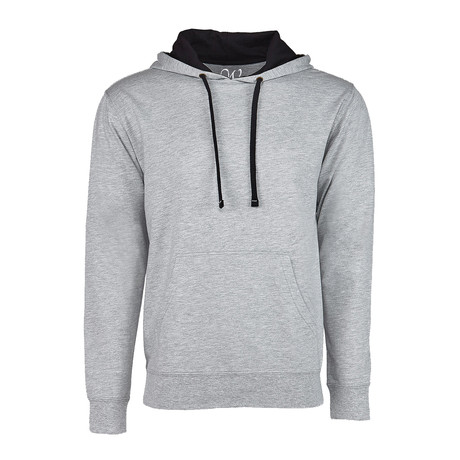French Terry Two-Toned Pullover Hoodie // Heather Gray + Black (S)