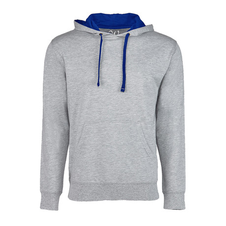 French Terry Two-Toned Pullover Hoodie // Heather Gray + Royal (S)