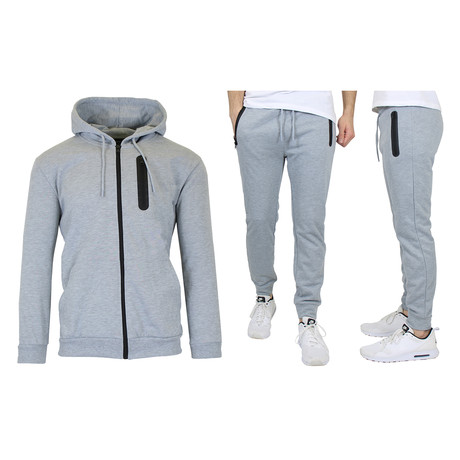 French Terry Zip Up Hoodie + Jogger Set // Heather Gray (S)