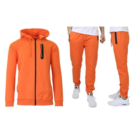French Terry Zip Up Hoodie + Jogger Set // Orange (S)