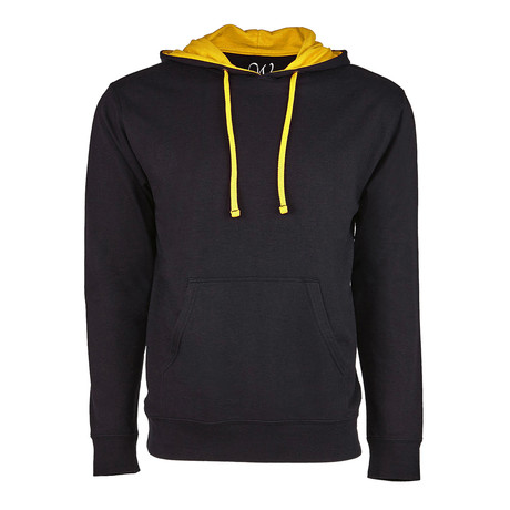French Terry Two-Toned Pullover Hoodie // Black + Gold (S)