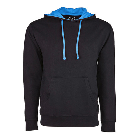 French Terry Two-Toned Pullover Hoodie // Black + Turquoise (S)