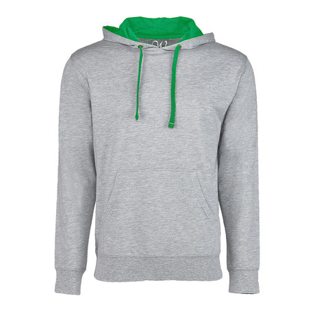 French Terry Two-Toned Pullover Hoodie // Heather Gray + Kelly Green (S)