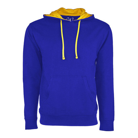 French Terry Two-Toned Pullover Hoodie // Royal + Gold (S)
