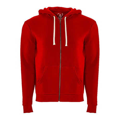 French Terry Zip Up Hoodie // Red (S)