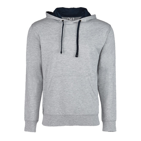 French Terry Two-Toned Pullover Hoodie // Heather Gray-Navy (S)
