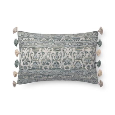 "Pillow Cover + Poly Fill // Aqua + Silver // 13"" x 21"""
