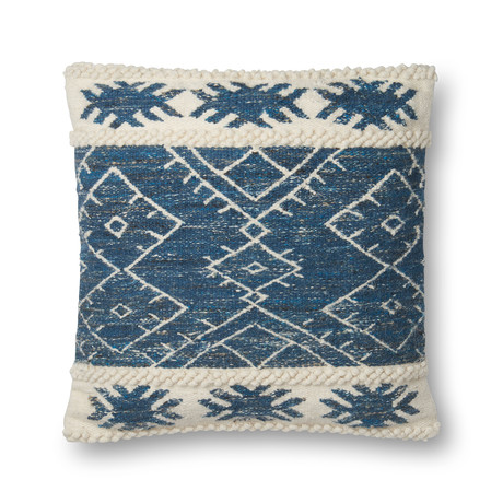 """Pillow Cover + Poly Fill // Blue + Ivory // 22"""" x 22"""""""