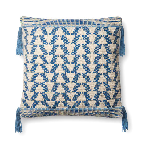 """Pillow Cover + Poly Fill // Blue + Ivory // Tasselled // 22"""" x 22"""""""