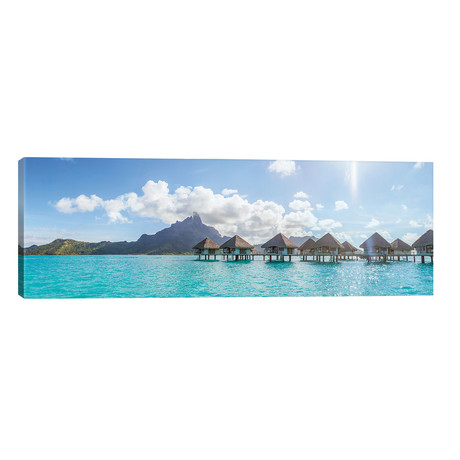 "Panoramic Of Bungalows In Bora Bora // Matteo Colombo (60""W x 20""H x 0.75""D)"