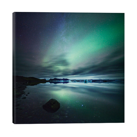 "Aurora Borealis (Northern Lights) Over Glacial Lagoon, Iceland // Matteo Colombo (18""W x 18""H x 1.5""D)"