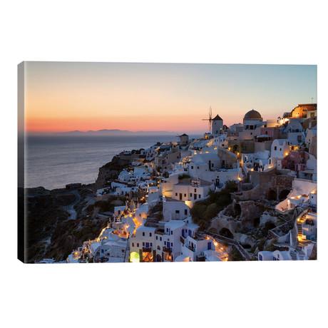 "Romantic Sunset In Santorini // Matteo Colombo (26""W x 18""H x 1.5""D)"