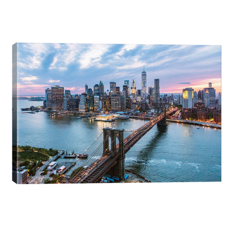 "Brooklyn Bridge And Lower Manhattan Skyline, New York City, New York, USA // Matteo Colombo (26""W x 18""H x 1.5""D)"