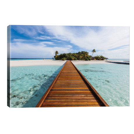 "Wooden Jetty To A Tropical Island, Maldives // Matteo Colombo (26""W x 18""H x 1.5""D)"