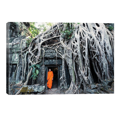 "Monk At Angkor Wat, Cambodia // Matteo Colombo (26""W x 18""H x 1.5""D)"