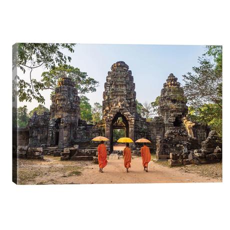 """Buddhist Monks, Angkor Wat, Cambodia // Matteo Colombo (26""""W x 18""""H x 1.5""""D)"""