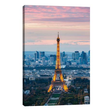 """Eiffel Tower With La Defense In The Background, Paris, Ile-de-France, France // Matteo Colombo (18""""W x 26""""H x 1.5""""D)"""