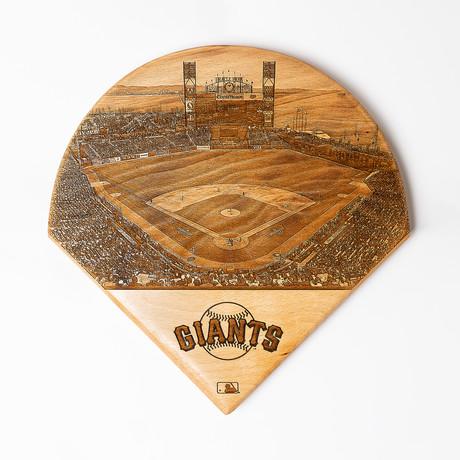 Laser Engraved Wood Plate // MLB Stadium (San Francisco Giants)