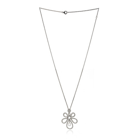 Lalique Ardente 18k White Gold Diamond + Sapphire Necklace // Store Display