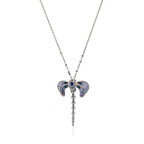 Lalique Libellule 18k White Gold + Sapphire Necklace // Store Display