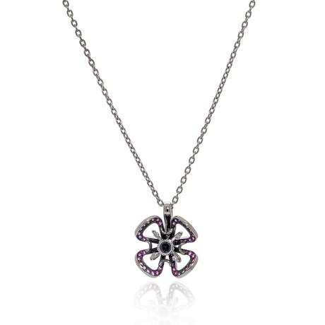 Lalique Poppy 18k White Gold Diamond + Garnet Necklace // Store Display