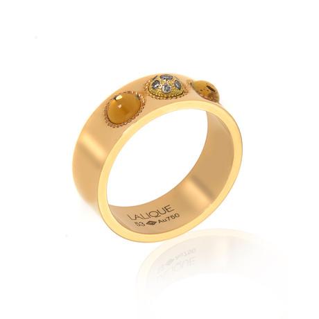 Lalique Petillante 18k Yellow Gold Diamond + Amber Ring // Ring Size 6.25 // Store Display