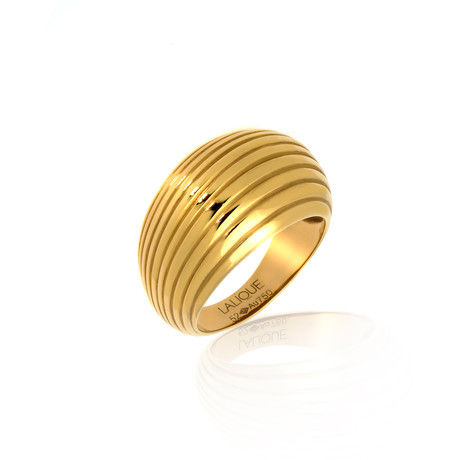 Lalique Vibrante 18k Yellow Gold Ring I // Ring Size 6.5 // Store Display