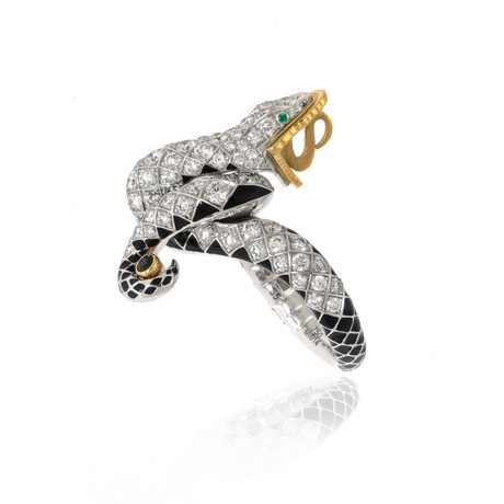Lalique Serpent 18k White + Yellow Gold Diamond + Onyx Ring // Ring Size 7.5 // Store Display