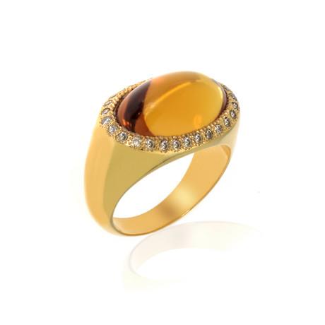 Lalique Petillante 18k Yellow Gold Diamond + Amber Ring // Ring Size 6 // Store Display